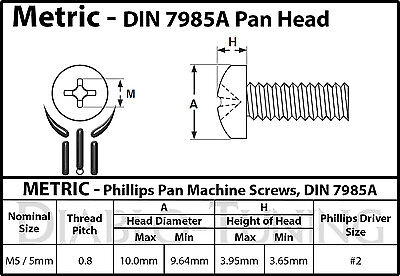 M3.5 x 5mm Qty 25 Stainless Steel Phillips Pan Head Mach Screws DIN 7985 A