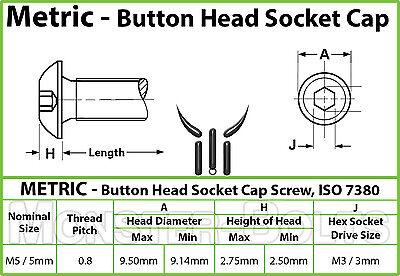 Ti Hex Allen TITANIUM M6 x 16mm BHCS DIN 9427 BUTTON HEAD Socket Cap Screw