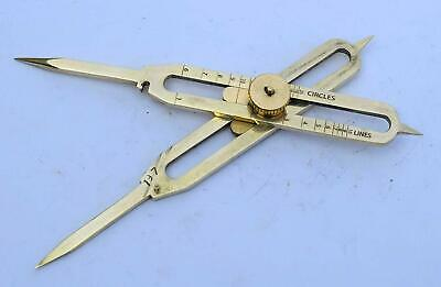 """Solid Brass Divider Drafting Proportional Tool 6"""" Navigational Compass Caliper 2"""