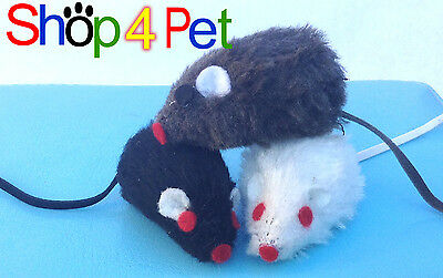 Cat Toy Mouse, in Black White or Grey, with Bell inside for your Cats Enjoyment. 2
