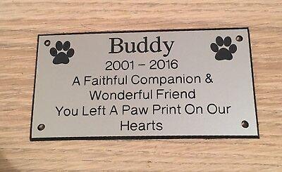 Pet Memorial Bench Plaque (Dogs & Cat paw prints) 2