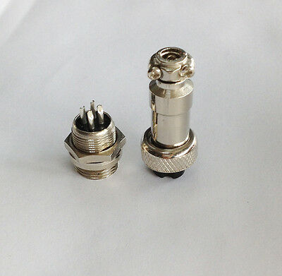 M12 12mm 3 Pin Screw Type Electrical Aviation Plug Socket Connector New