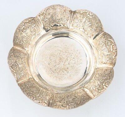 Antigüedad Persa Plata Repujado Cuenco con / Aves y Flores (185g) 0.900 Plata 2