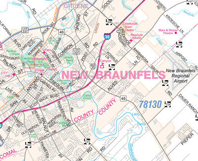 SAN ANTONIO/GREATER BEXAR County Detailed Region Wall Map w ...
