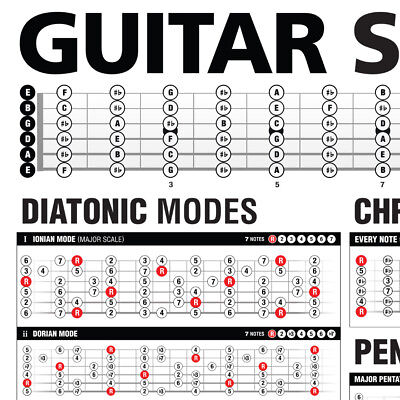 "Popular Guitar Scales Reference Poster 24""x36"" 3"