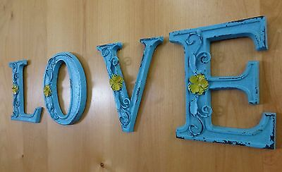 """BLUE CAST IRON WALL LETTER """"H"""" 6.5"""" TALL rustic vintage decor sign child nursery 7"""