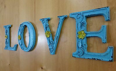 """BLUE CAST IRON WALL LETTER """"M"""" 6.5"""" TALL rustic vintage decor sign child nursery"""