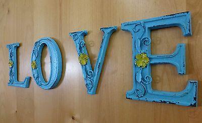 "BLUE CAST IRON WALL LETTER ""U"" 6.5"" TALL rustic vintage decor sign child nursery 7"