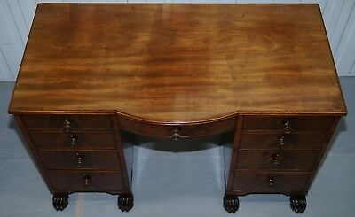Exquisite Regency Period 1815 Mahogany Kneehole Desk With Lion Hairy Paw Feet 3
