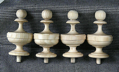 2 Wood FINIALS 105 mm for Antique Wall Clock / Barometer / Mirror / Furniture #8 4
