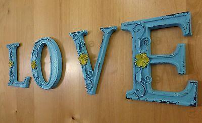 "BLUE CAST IRON WALL LETTER ""E"" 6.5"" TALL rustic vintage decor sign barn nursery 7"