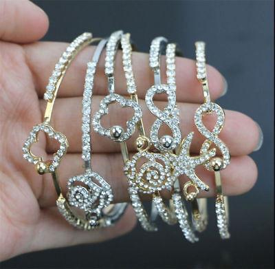 Fashion Flower Crystal Rhinestone Gold Silver Chain Bangle Bracelet Jewelry 6