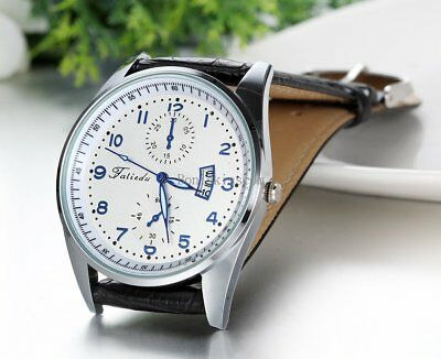 Leather Band Round Quartz Analog Elegant Classic Casual Men's Wrist Watch New 3
