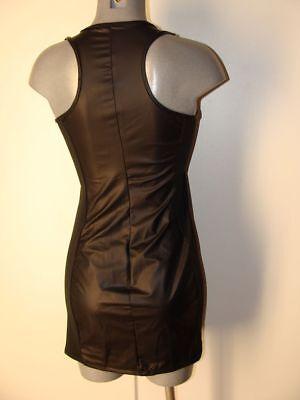 Wetlook Kleid Schwarz glänzend Sexy Erotik Gr 36 38 Stretch NEU I61 3