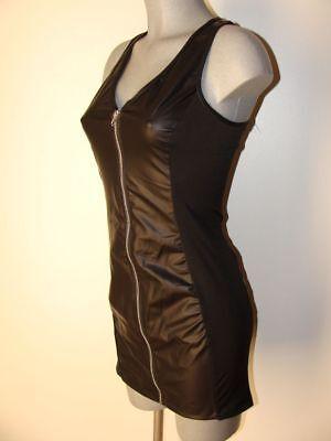 Wetlook Kleid Schwarz glänzend Sexy Erotik Gr 36 38 Stretch NEU I61 2