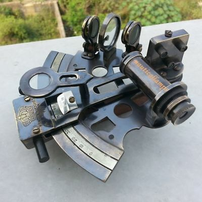 Vintage Marine Collectible Brass Working German Nautical Sextant With Wooden Box 3