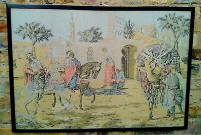 Antique Ottoman Era depiction of Horse Riding Merchants town  tapestry . 2