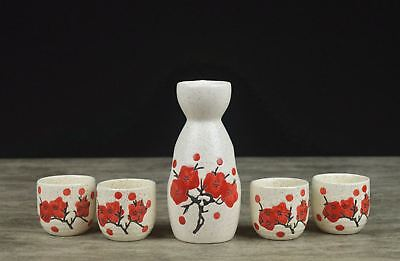 Japanese Traditional Sakura Patterned 5 Piece Sake Set 1 Bottle 4 Cups Gift Box 6