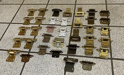 43 Cabinet Door Hinges Self Closing Antique Polished Brass Tan White Vintage 3