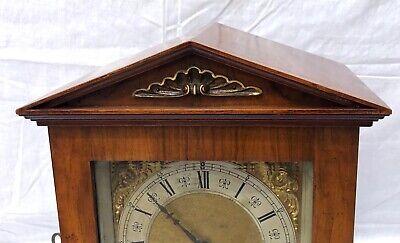 ~ Antique Architectural LENZKIRCH Walnut TING TANG Bracket Mantel Clock WORKING 4