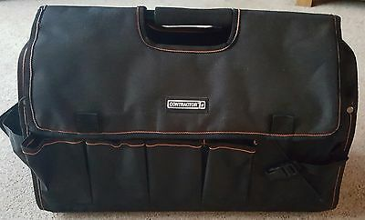 "18/"" TOTE TOOL CADDY BAG HEAVY DUTY BASE CARRY CASE HOLDALL ALUMINIUM HANDLE"