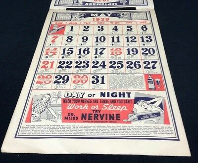 Dr Miles Nervine QUACK MEDICINE Advertising 1939 Drug Store 12 pg Calendar 13x10 5
