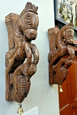 Pony Horse Wall Corbel Pair Wooden Sculpture Statue Peacock Bracket Home Decor U 3