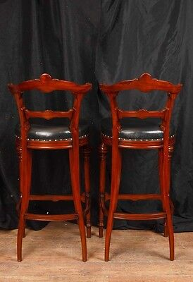 Pair Victorian Hand Carved Mahogany Bar Stools Seats 12