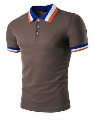 New Men's Slim Fit POLO Shirts Solid Short Sleeve Casual Golf T-shirt Tee Tops 11