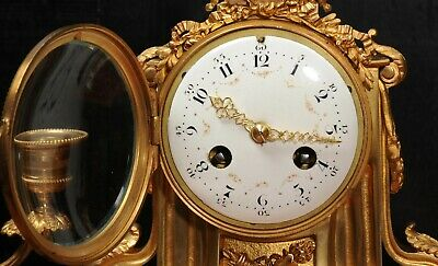 Ormolu and Marble Boudoir Antique French Clock Set by Vincenti C1860 10