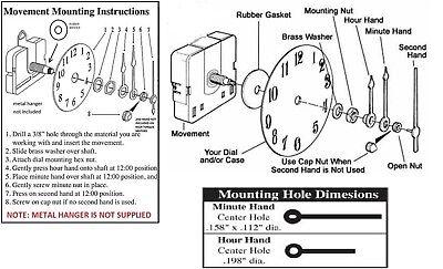 "High Torque (Silent) Clock Movement extra long shaft  w/continous sweep, 15/16"" 3"