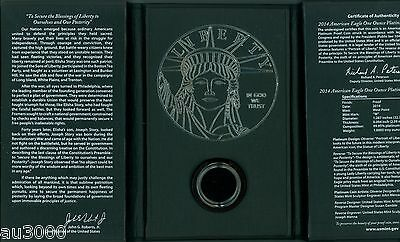 US Mint Box & COA for 2014-W $100 Proof Platinum 1 Oz. Statue of Liberty NO COIN