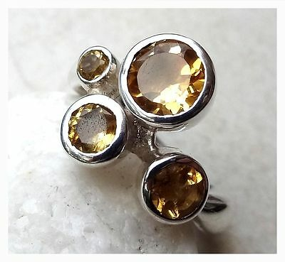 925 Sterling Silver CITRINE SEMI PRECIOUS GEMSTONE MODERN RING SIZE P 1/2 - US 8