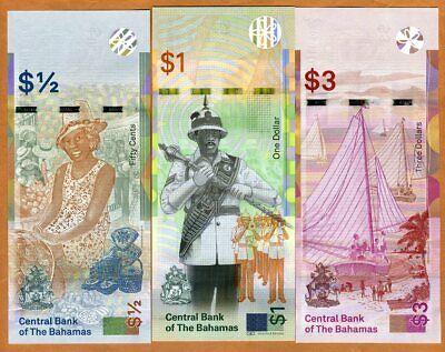 Set Bahamas, 1/2-1-3 dollars, 2017-2019, P-New, QEII, UNC > Redesigned 2