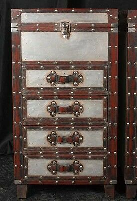 Pair Campaign Industrial Nightstands Chest Drawers Bedside Tables Luggage Trunk 10