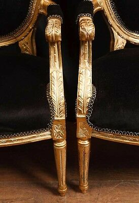 Pair French Empire Gilt Arm Chairs Fauteils 9
