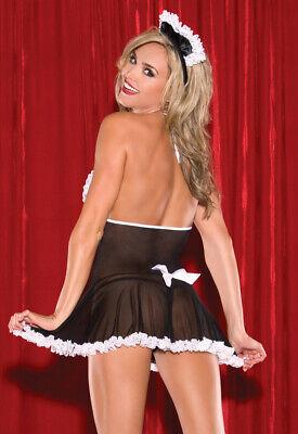 Set Costume Completo Cameriera Maid Serva Velato Lingerie Pizzo Sexy Perizoma 9