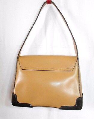 4aae64606f ... KESSLORD sac à main cuir beige coins renforcés plastique noir TBE 11