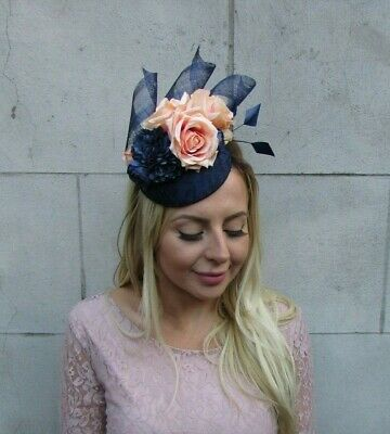 Navy Blue Peach Apricot Flower Feather Pillbox Hat Fascinator Races Wedding 8025 2