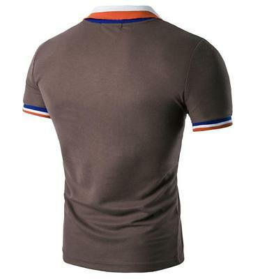 New Men's Slim Fit POLO Shirts Solid Short Sleeve Casual Golf T-shirt Tee Tops 12