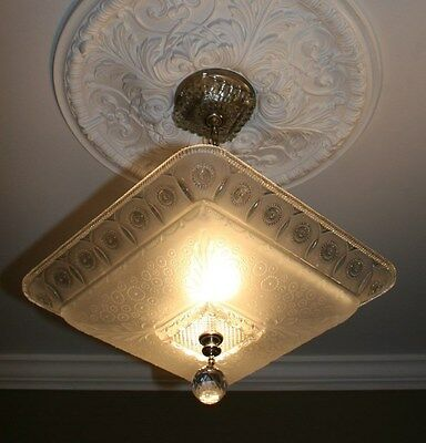 Antique large square frosted glass art deco custom light fixture chandelier 4