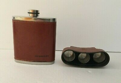 Pocket Hip Flask 8 Oz with Funnel Stainless Steel with Black Leather Wrapped2F2
