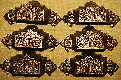 "6 Cast Iron BIN PULLS Signed 1872 Pat. Orginal Hardware 3+""W, w/ 2.25""Centers 2"