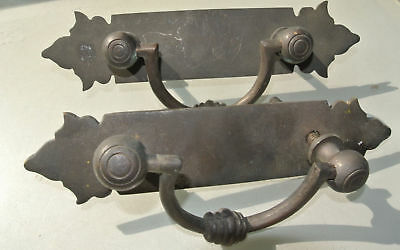 2 used large BOX HANDLES vintage aged style solid Brass DOORS heavy 25cm bolt 3
