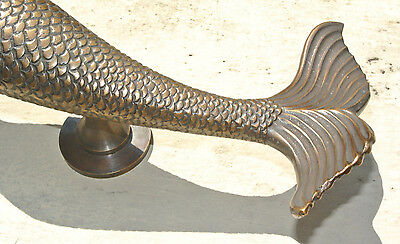 """large MERMAID solid brass door PULL old style heavy house PULL handle 15"""" aged B 5"""