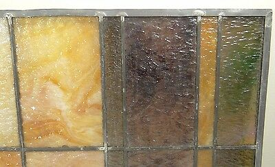 GEOMETRIC RECTANGULAR LEADED-STAINED GLASS WINDOW~HEAVY OBSCURITY~Art Deco 22x15 6