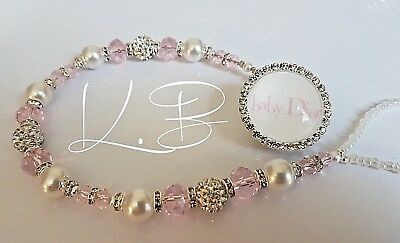 Bling *Diamante Button* Shamballa Romany Dummy Clip Girl *Any Name* Pink/white 3