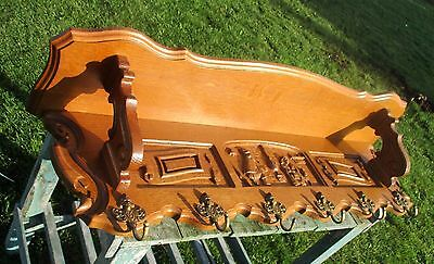 Vintage Carved Wood  Wall Rack Shelf Coat Hooks Mirror Mid Century Modernist