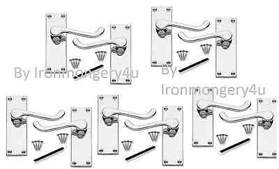 5 x PAIRS Chrome Silver Victorian Scroll Lever Latch Door Handles D30