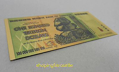 Zimbabwe 100 Trillion Dollars Banknote Gold Plated Pure 24K Gold Coloured 2